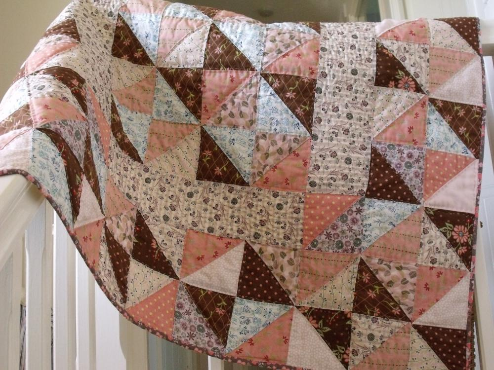 handmade baby quilt modern patchwork quilt crib quilt play mat quilt cover childs' quilt with pink blue brown triangle pattern