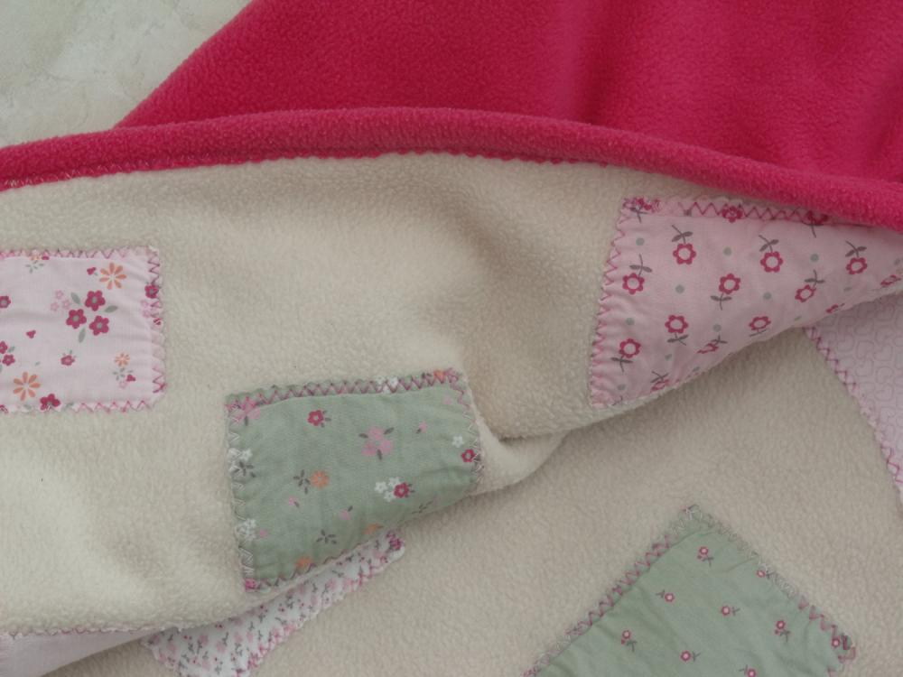 baby blanket pink baby blanket cream pink baby blanket baby girl blanket, reversible