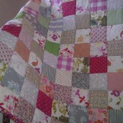 patchwork quilt girls quilt baby  quilt  nursery  coloured squares with reversible deep pink daisy print