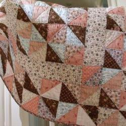 handmade baby quilt modern patchwork quilt crib quilt play mat quilt cover childs&#039; quilt with pink blue brown triangle pattern