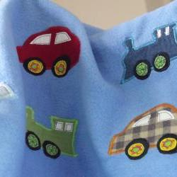 Baby blanket blue blanket cars trains applique floormat playmat