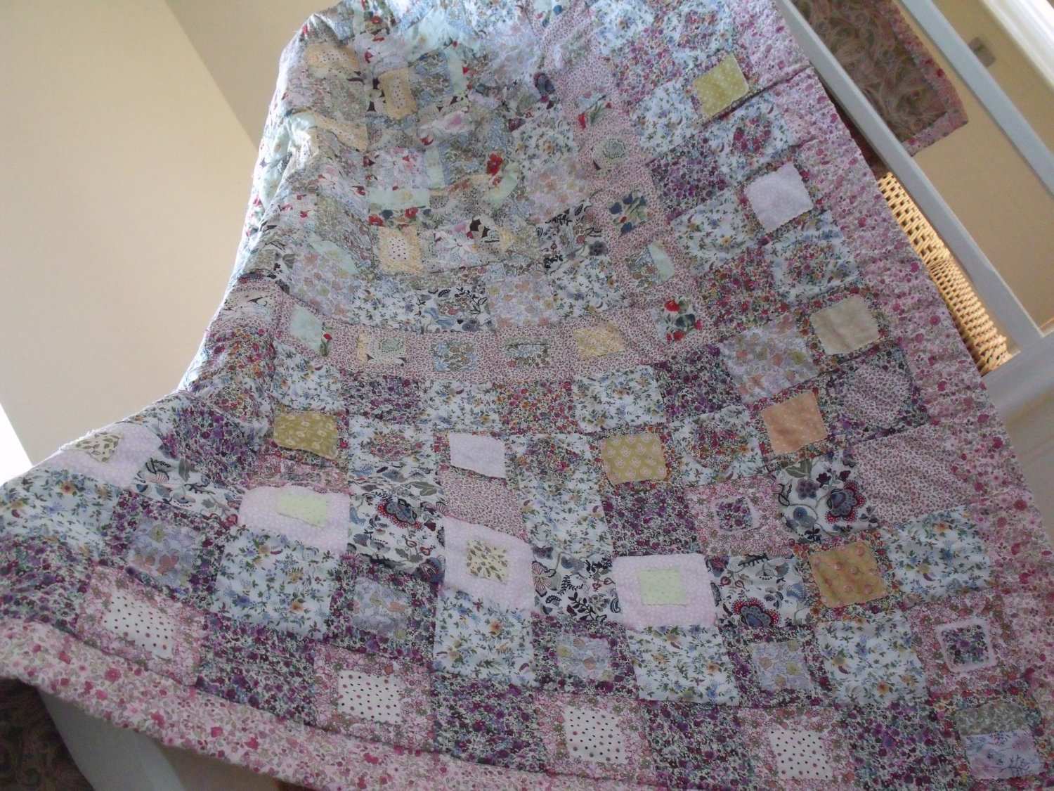 patchwork quilt cottage style shabby chic style quilt handmade quilt ...