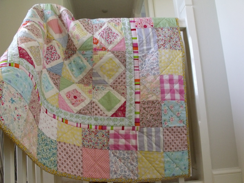 Modern Handmade Patchwork Quilt Baby Quilt Girls Patchwork
